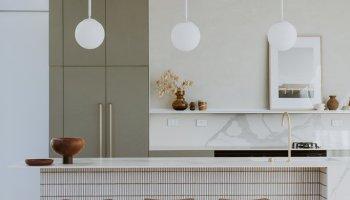 Green Cabinets Modern Tile Island Kitchen
